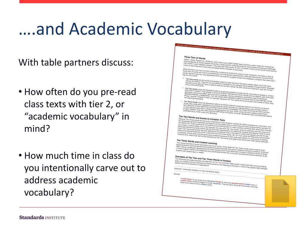 ….and Academic Vocabulary