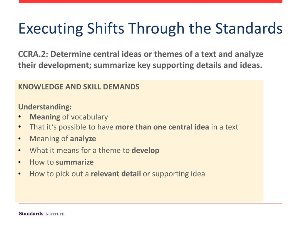 Executing Shifts Through the Standards