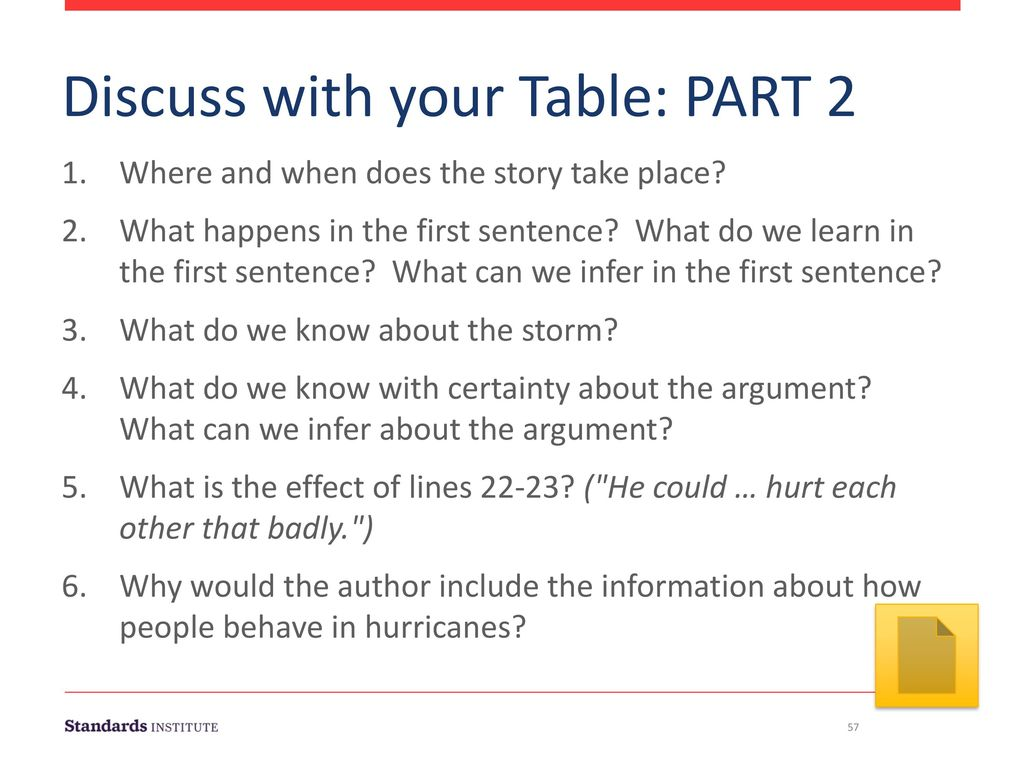 Discuss with your Table: PART 2