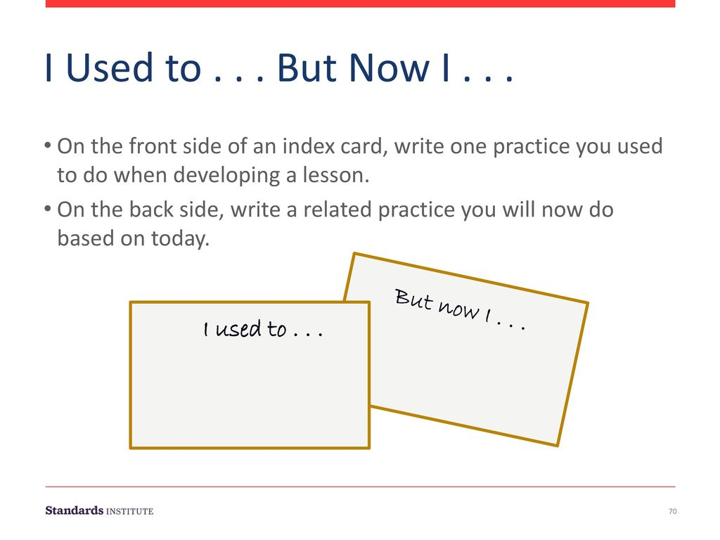 I Used to But Now I On the front side of an index card, write one practice you used to do when developing a lesson.