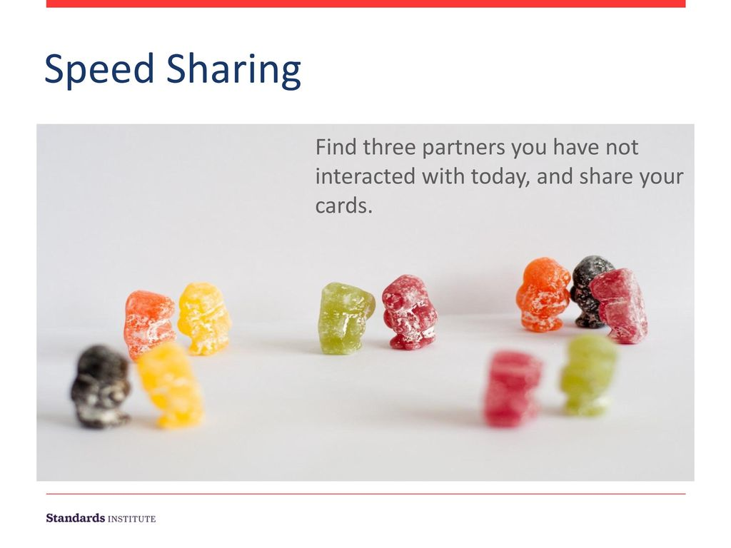 Speed Sharing Find three partners you have not interacted with today, and share your cards. . 3 minutes.