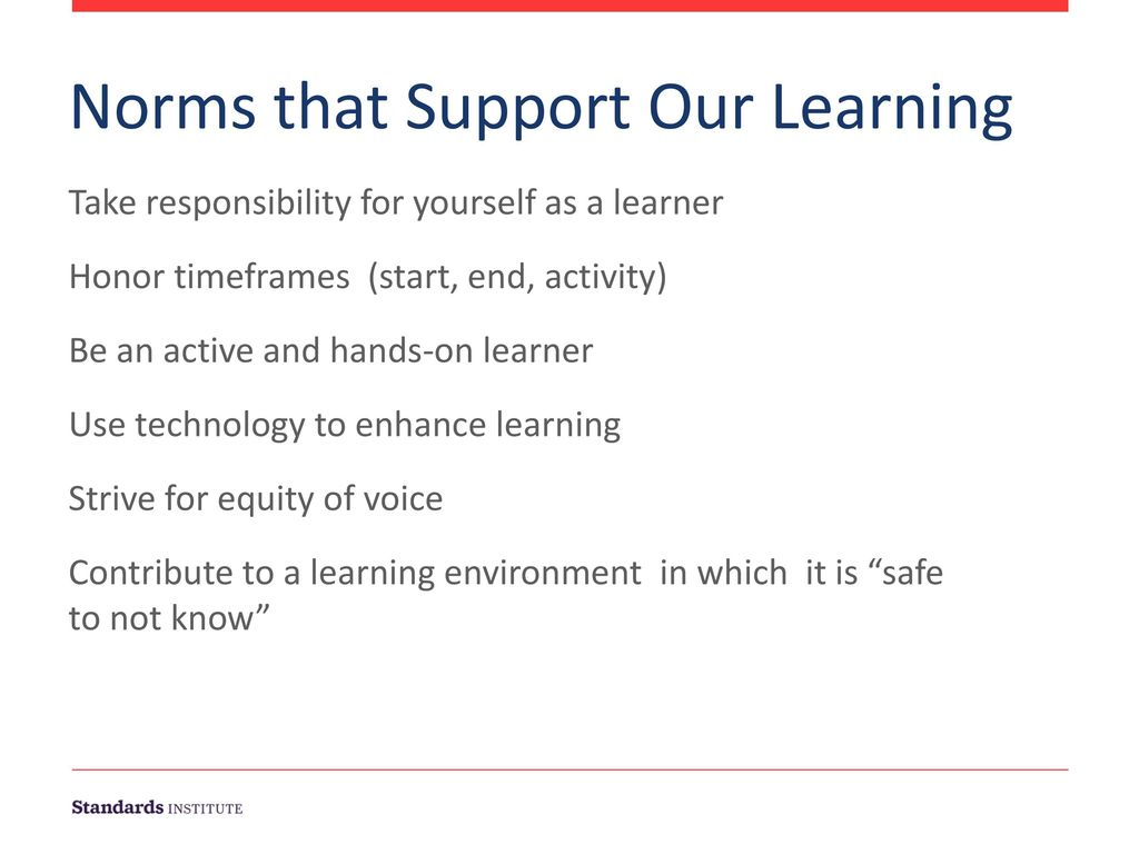 Norms that Support Our Learning