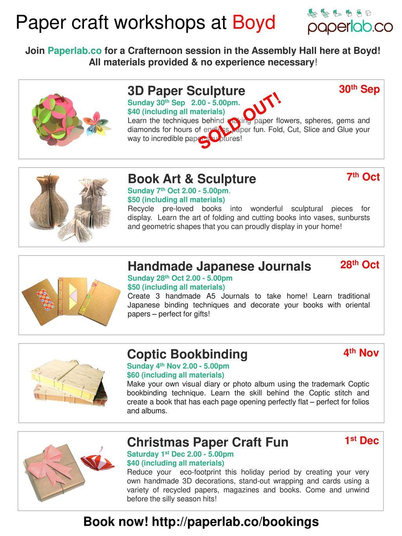 Paper craft workshops at Boyd - ppt download