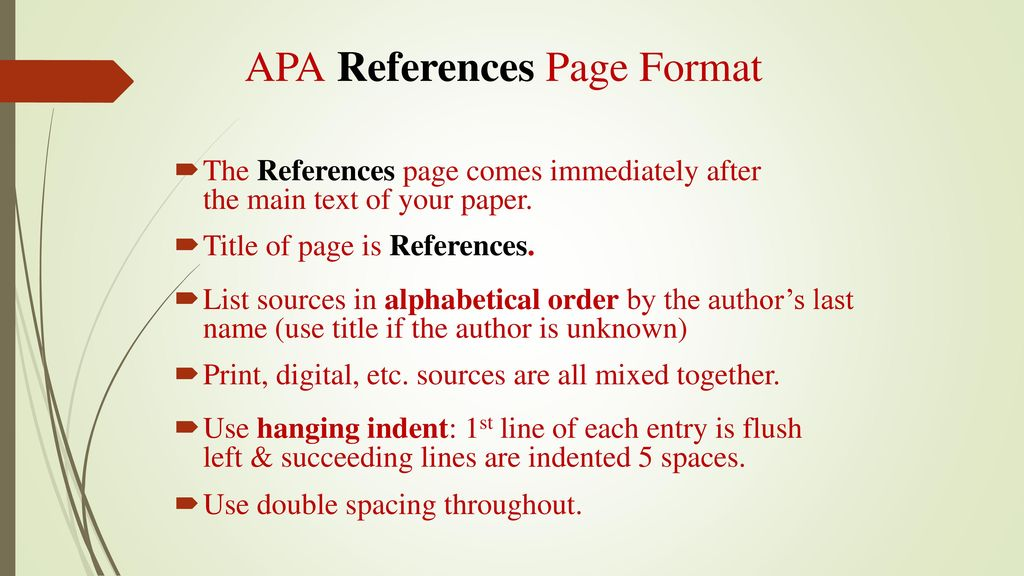 A Review Of The APA Style References Page Ppt Download