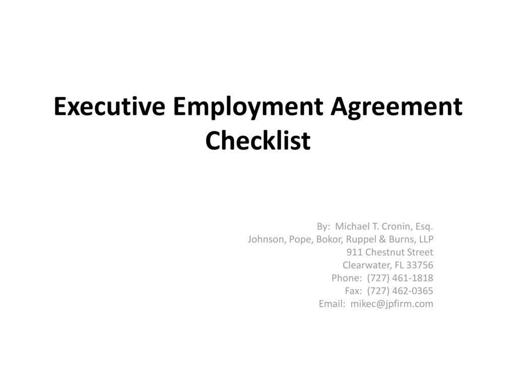 Executive Employment Agreement Checklist - ppt download