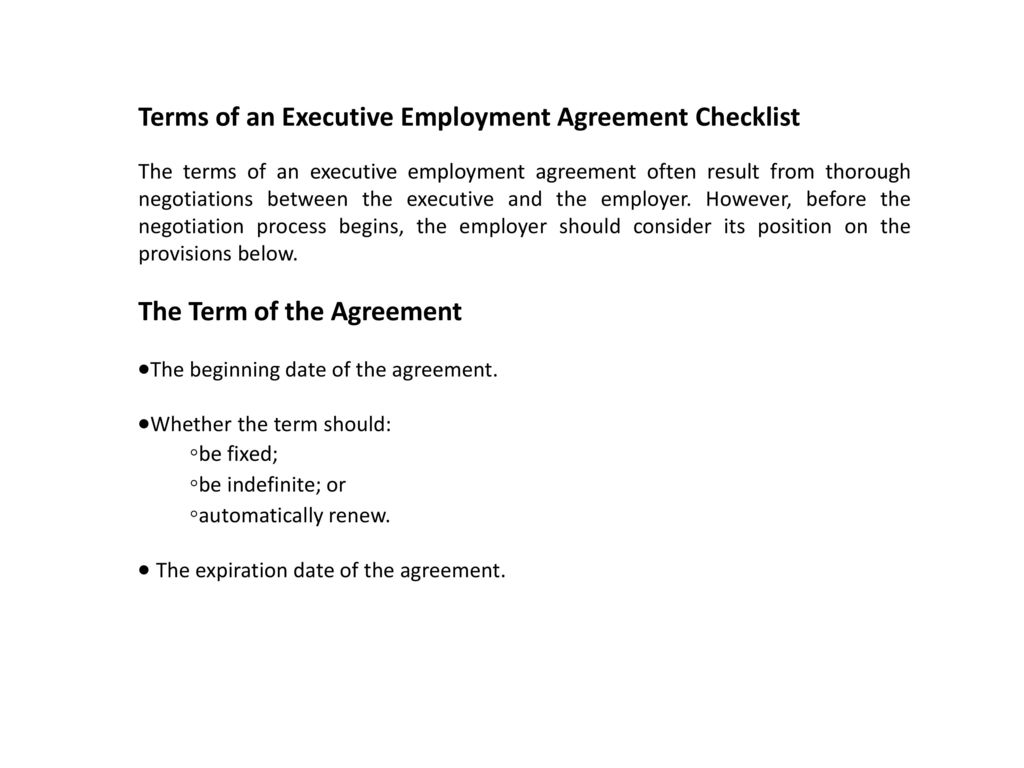 Executive Employment Agreement Checklist Ppt Download