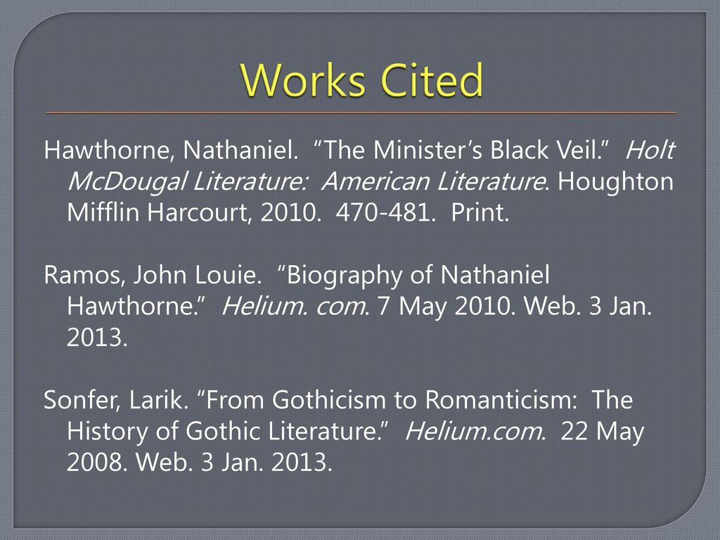 "Nathaniel Hawthorne and ""The Minister's Black Veil"" - ppt"