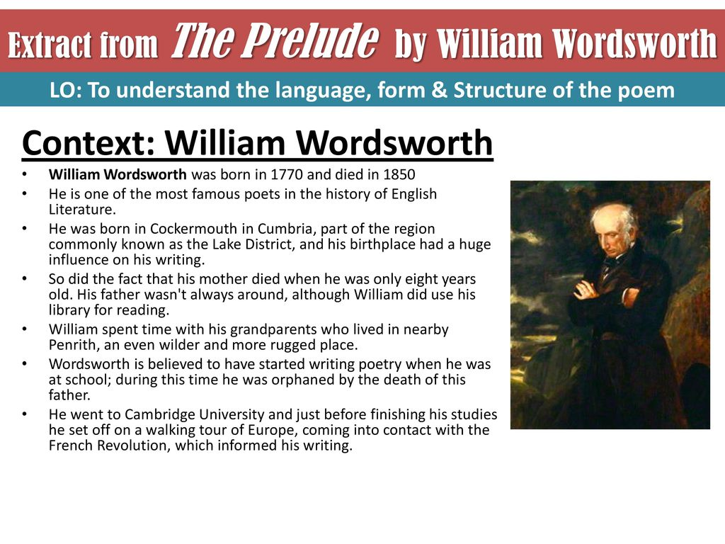 Extract From The Prelude By William Wordsworth Ppt Download