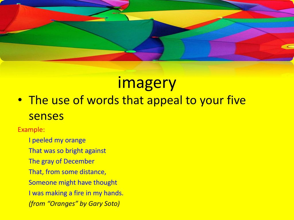 Introduction To Poetry Ppt Download Imagery Example In Orange By Gary Soto