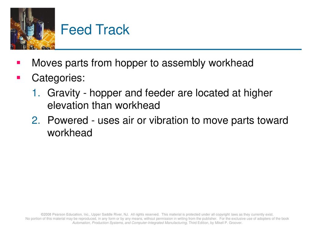 Feed Track Moves parts from hopper to assembly workhead Categories: