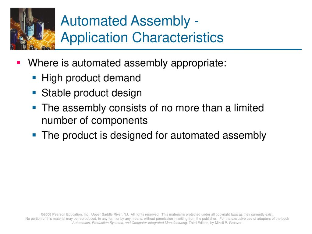 Automated Assembly - Application Characteristics