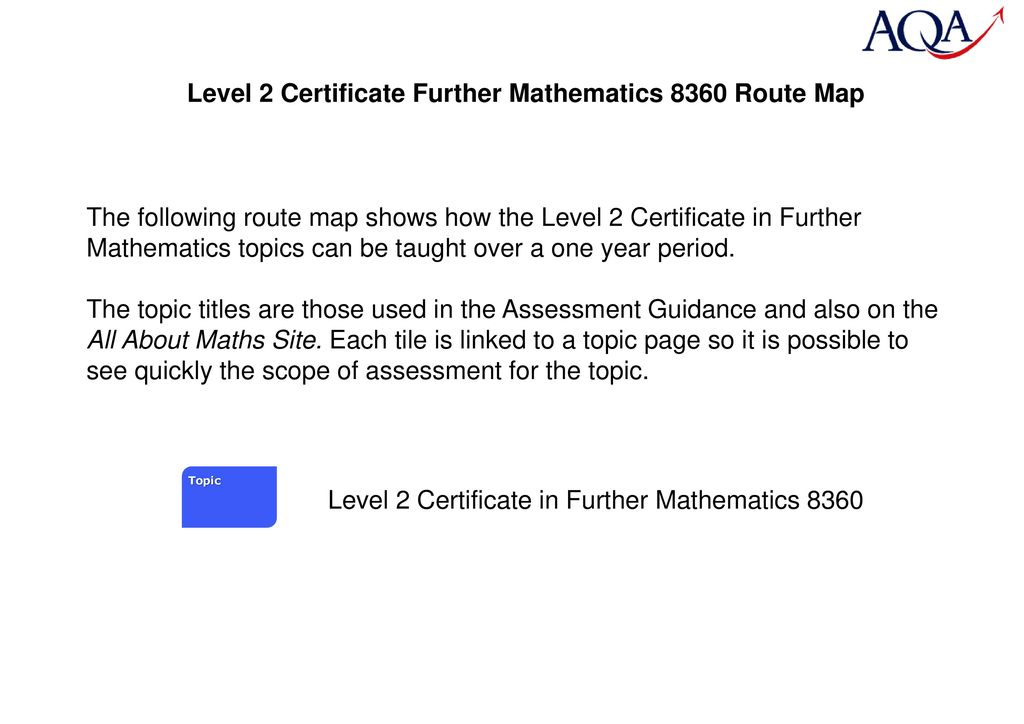 Level 2 Certificate Further Mathematics 8360 Route Map - ppt download
