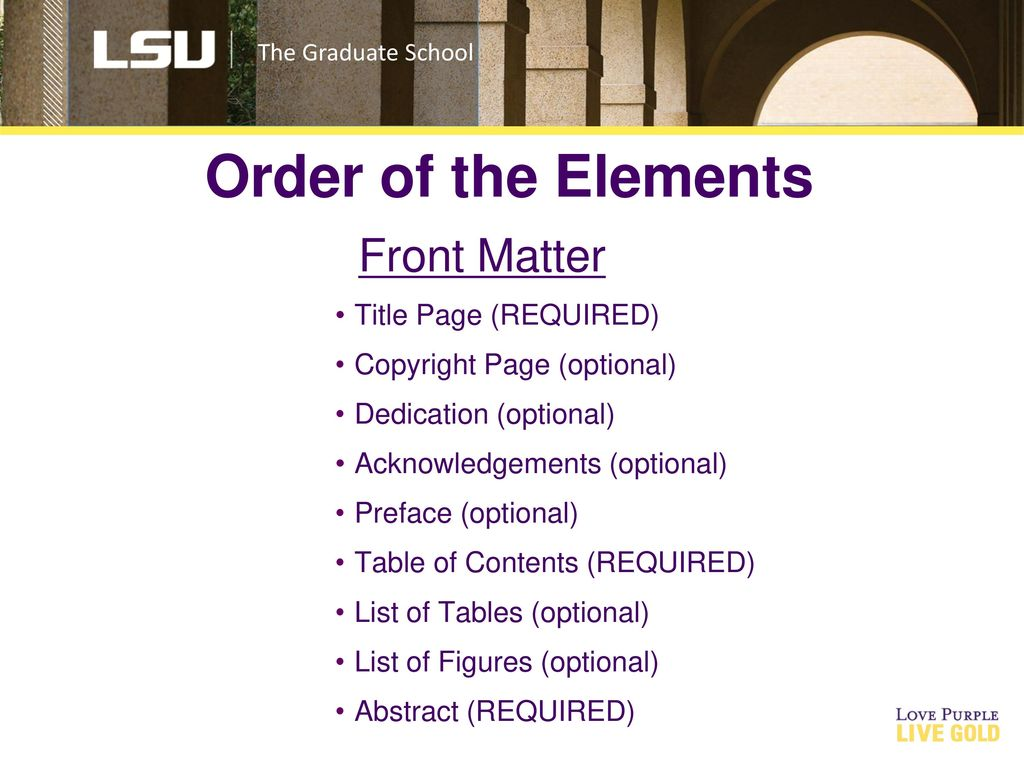 order of the elements front matter title page required