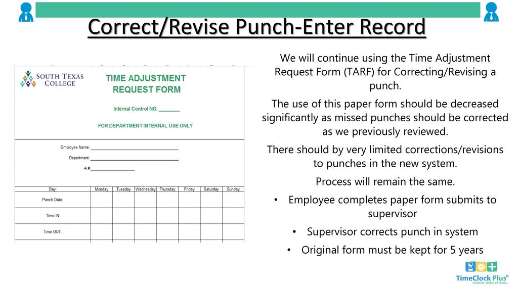 Correct Revise Punch Enter Record
