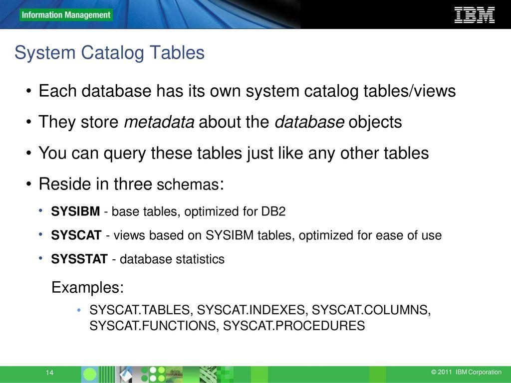 Sysibm Tables