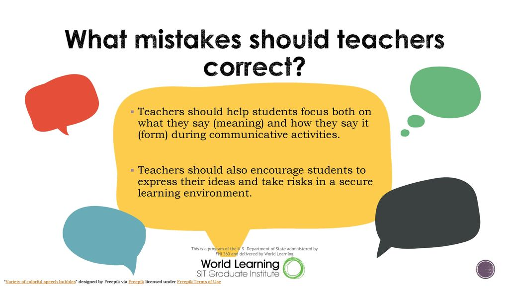 What mistakes should teachers correct