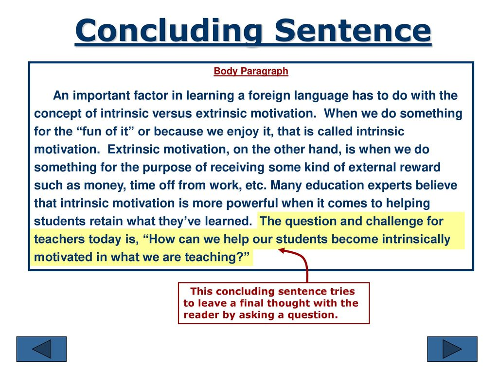 concluding sentence in a paragraph