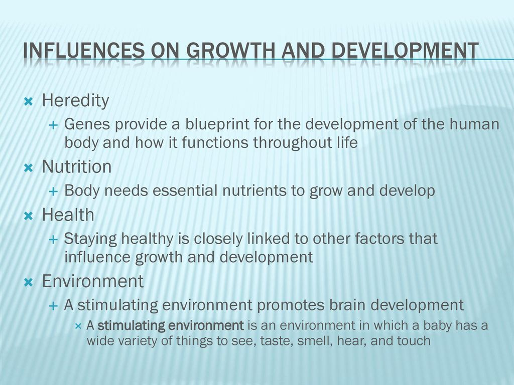 Infant growth and development ppt video online download influences on growth and development malvernweather Gallery