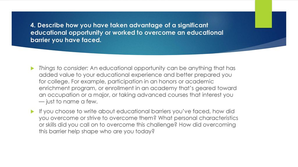essay about your educational experience If you have had work experience and/or internships, this is an opportunity to talk specifically about what you learned in the classroom that helped you in your work an example of how to best answer this question for an experienced candidate.