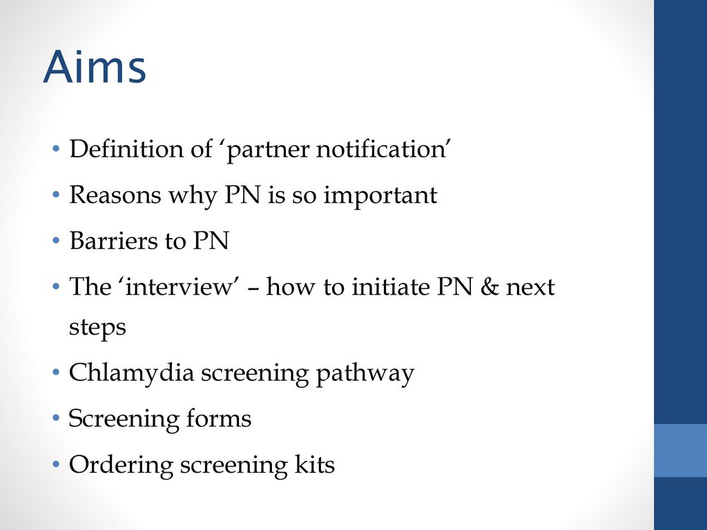 partner notification & chlamydia screening pathways for pharmacists