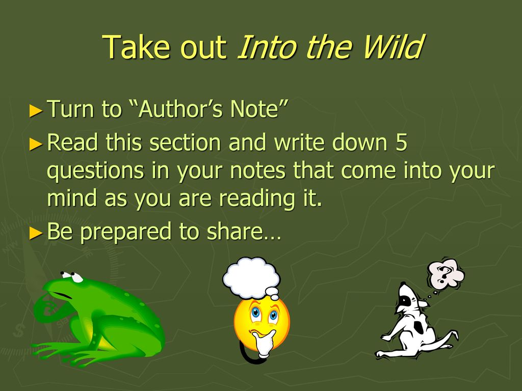 into the wild authors note