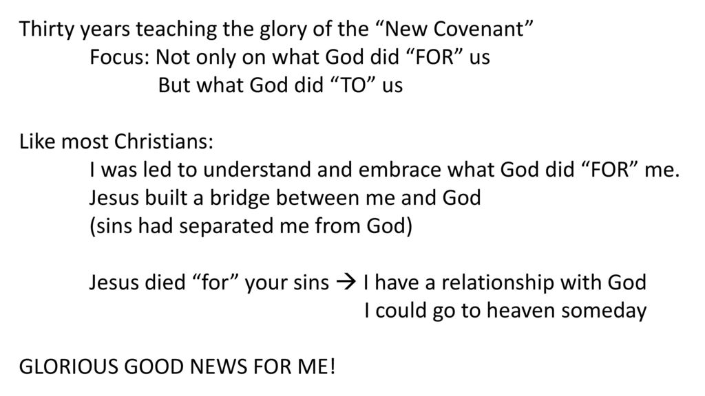 "Thirty years teaching the glory of the ""New Covenant"" - ppt"