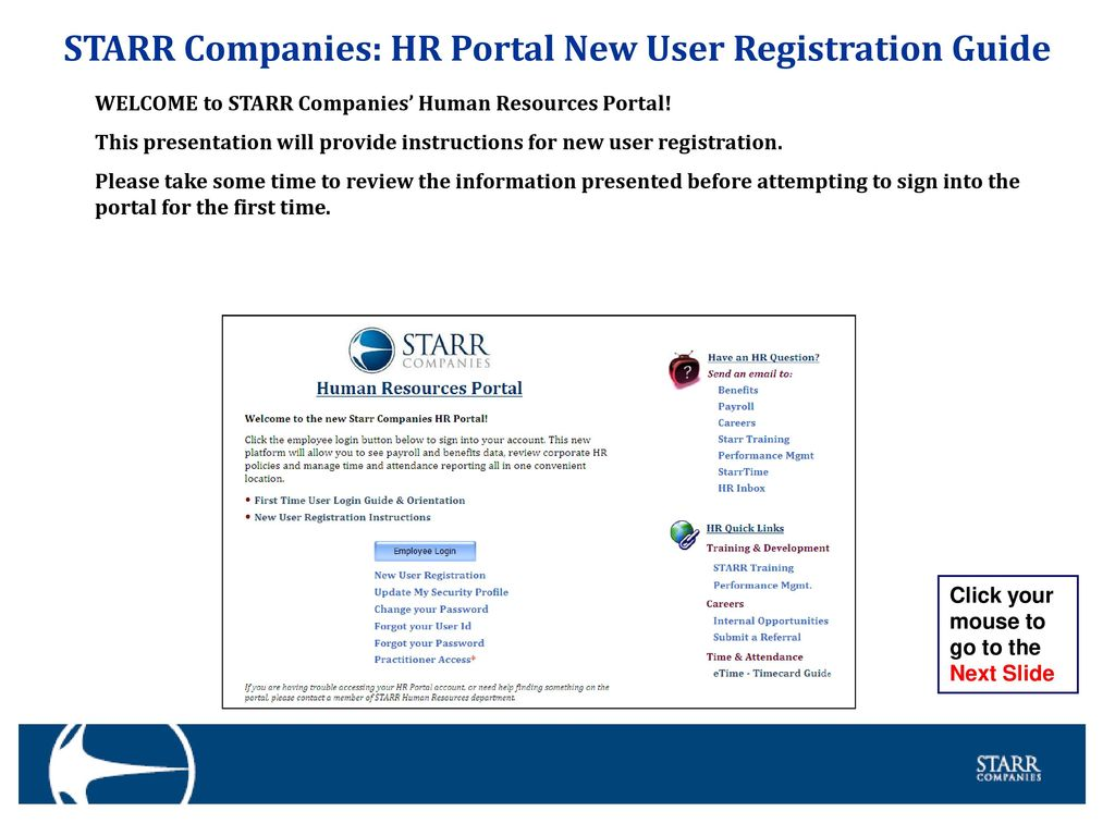 STARR Companies: HR Portal New User Registration Guide - ppt download