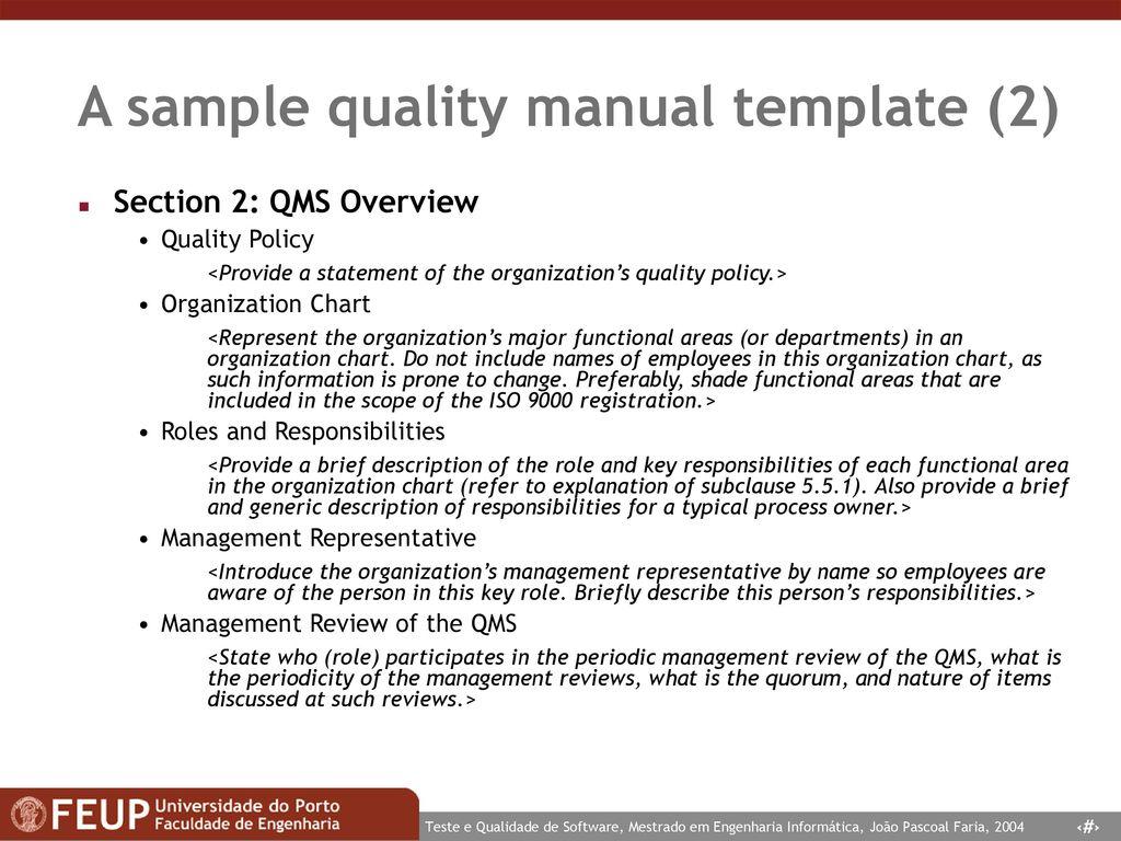 Sample Quality Manual Template | Tqs Teste E Qualidade De Software Software Testing And Quality
