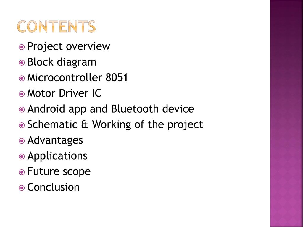Voice Controlled Robot By Cell Phone With Android App Ppt Video Circuit Diagram Of Bluetooth Device Contents Project Overview Block Microcontroller 8051