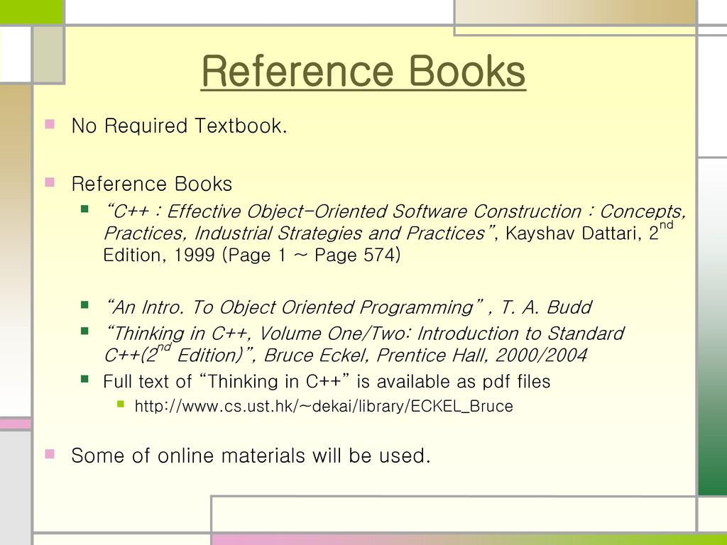 Object Oriented Programming Oop Design Lecture 1 Course Overview Ppt Download