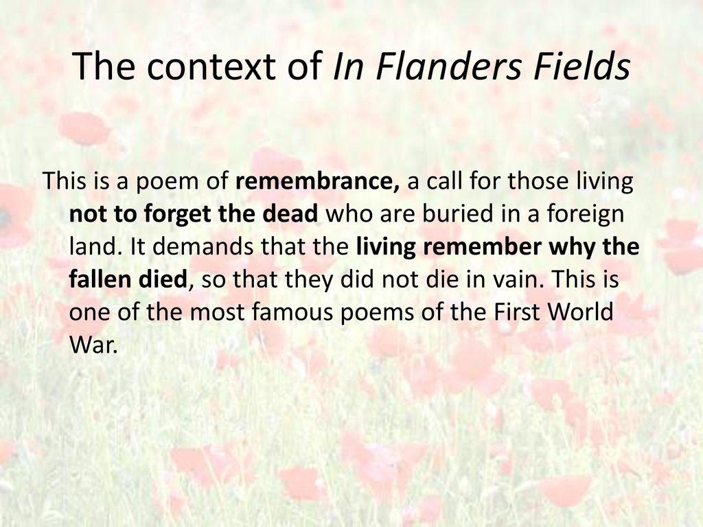 In Flanders Fields Wwi Poem John Mcrae Ppt Video Online Download