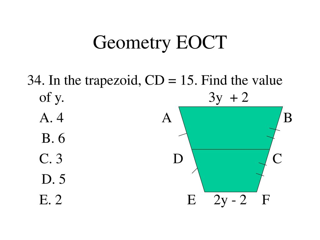 Geometry EOCT Find the distance between A and B. A. B. C. D. - ppt ...