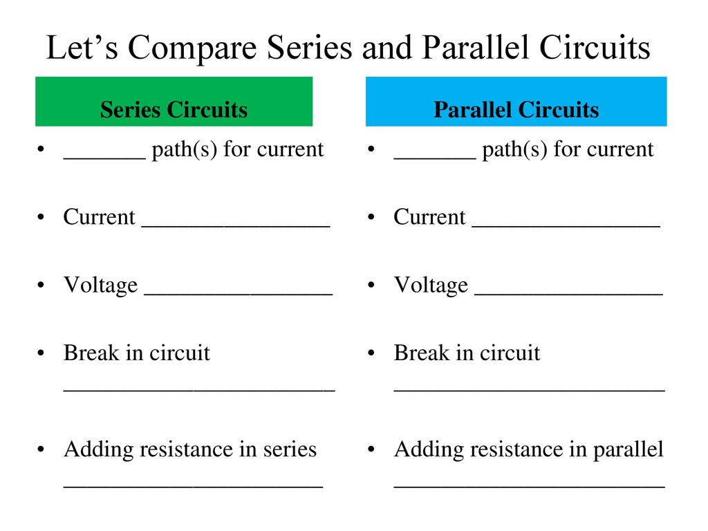 Electrical Current Circuits Ppt Download In Parallel And Series Lets Compare