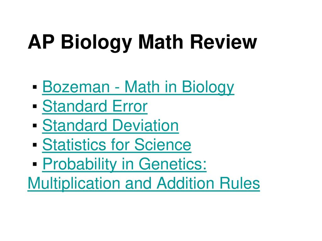 AP Biology Math Review ▫ Bozeman - Math in Biology ▫ Standard ...