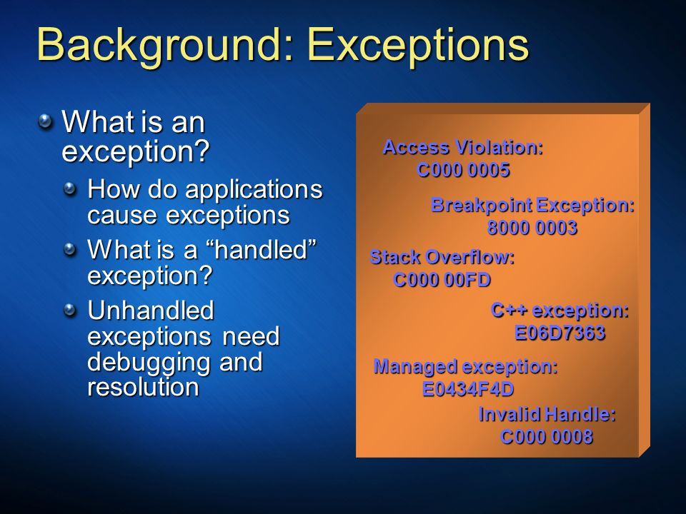 Background: Exceptions
