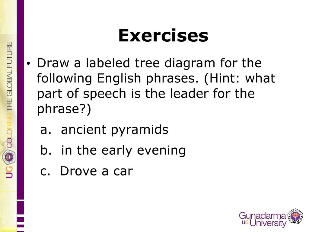 English department faculty of letters ppt video online download exercises draw a labeled tree diagram for the following english phrases hint what ccuart Choice Image