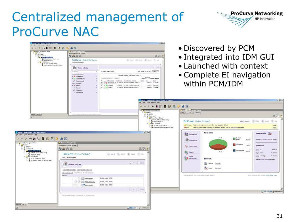 Featuring IDM 2 2 and ProCurve Network Access Controller ppt