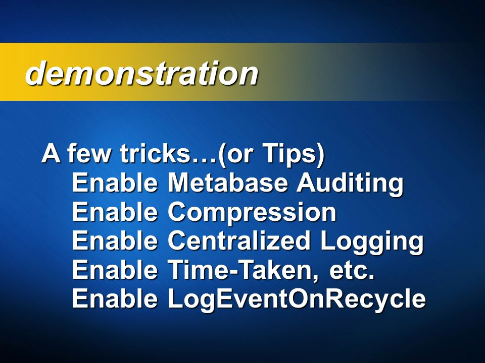 demonstration A few tricks…(or Tips) Enable Metabase Auditing