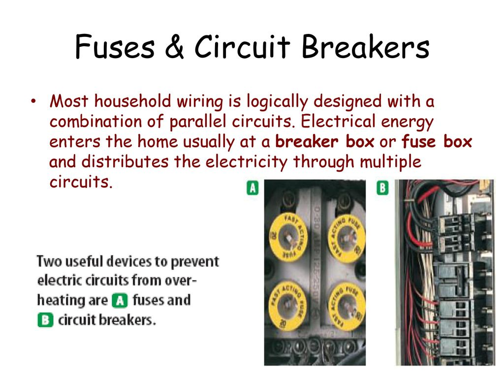 Electricity Ppt Download Home Circuit Breaker Fuse Box Most Household Wiring Is Logically Designed With A Combination Of Parallel Circuits Electrical Energy Enters The Usually At Or