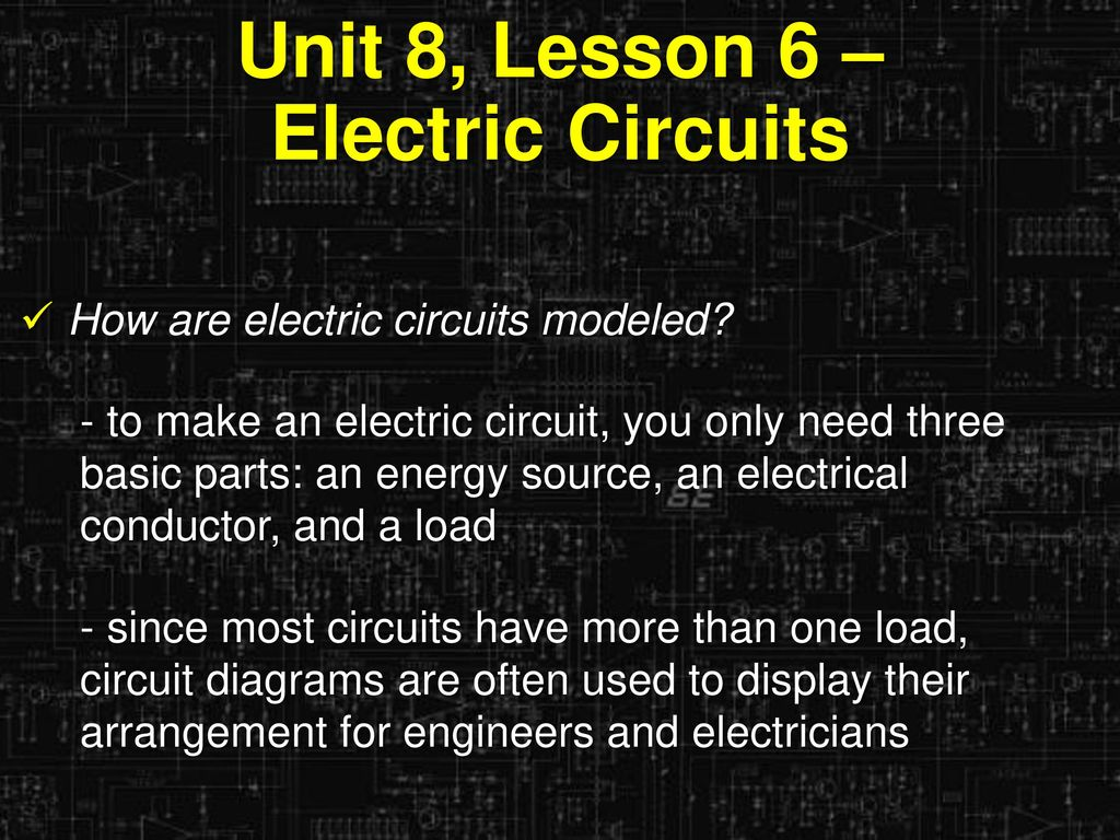 Learning Objectives I Can Describe The Parts Of An Electric Circuit Circuits Diagrams Unit 8 Lesson 6