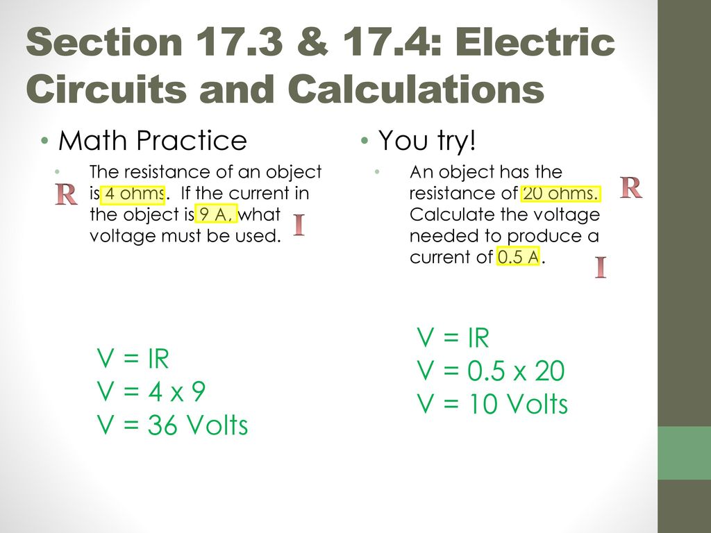 Chapter 17 Introduction To Electricity Ppt Download The Resistance Ohms Law Can Be Used Work Out Voltages And Currents 37 Section 173 174 Electric Circuits Calculations Objectives Use Calculate Voltage Current