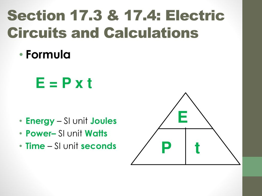 Calculation of power in electrical circuits
