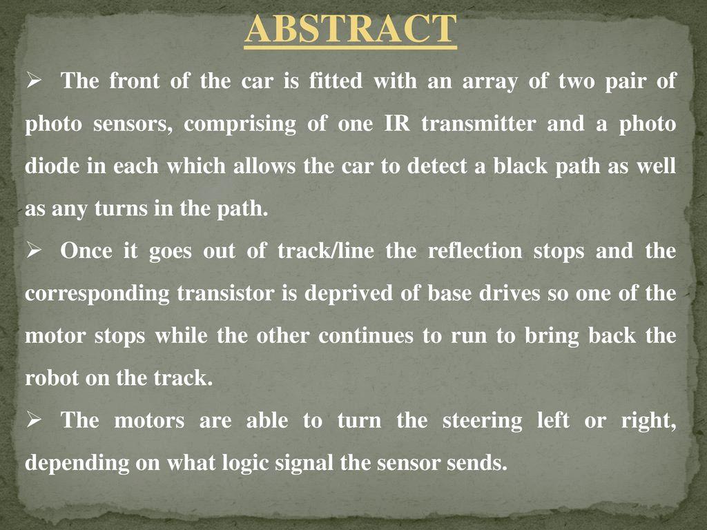 TRACK SENSING ROBOTIC VEHICLE MOVEMENT - ppt video online download