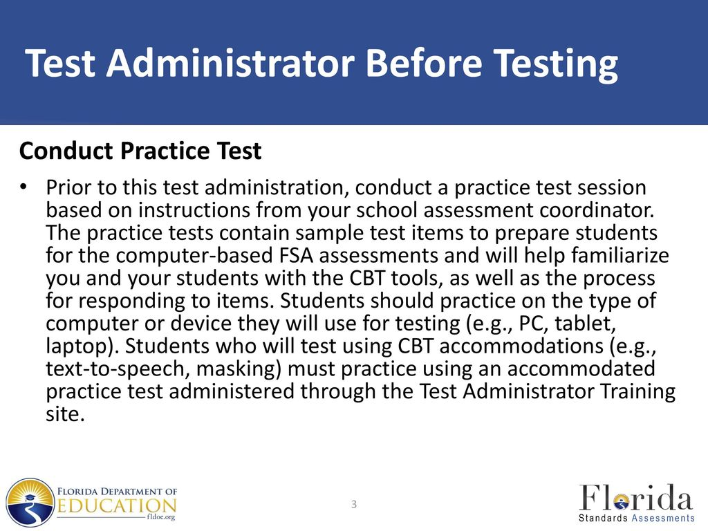 3 Test Administrator Before Testing
