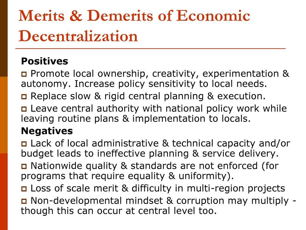 merits of decentralization