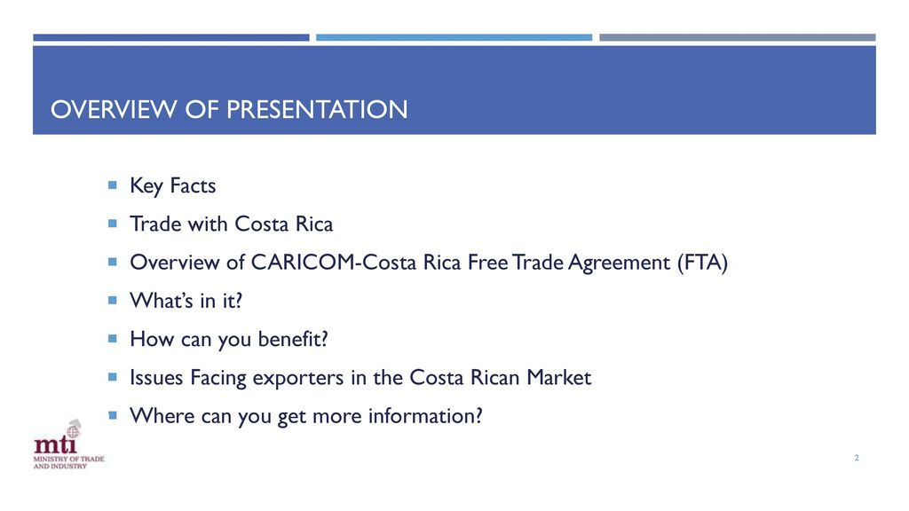 Caricom Costa Rica Free Trade Agreement Ppt Download