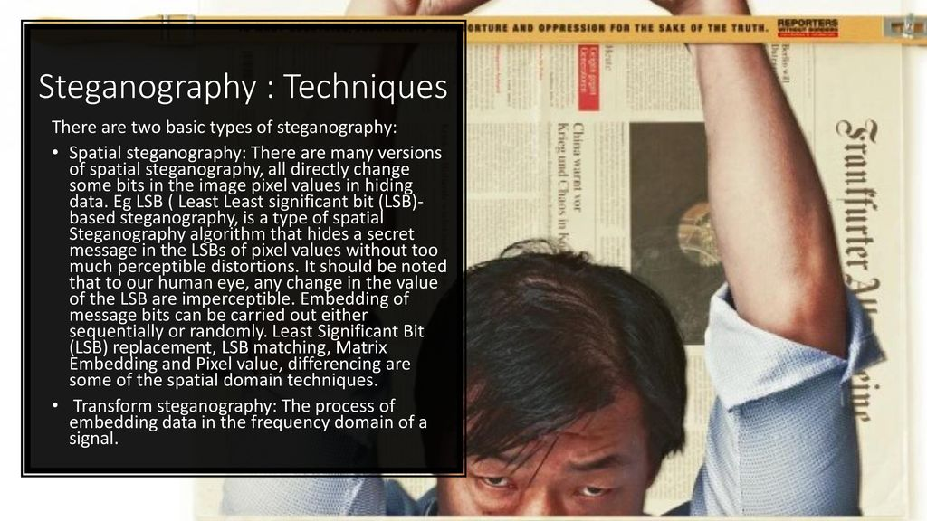 types of steganography techniques