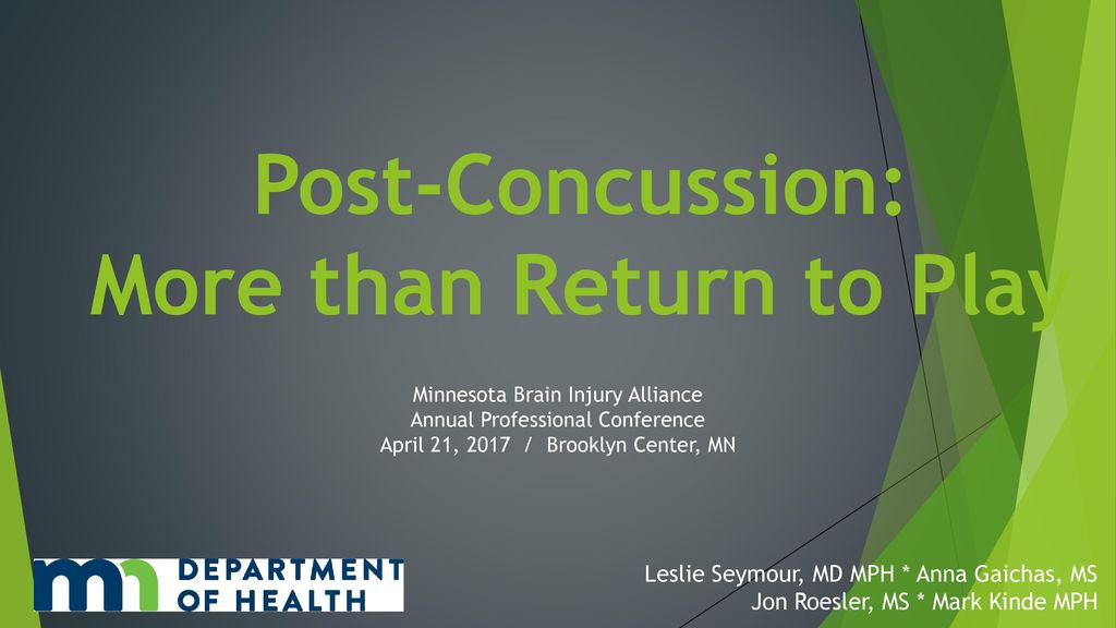 Post Concussion Return To Play In >> Post Concussion More Than Return To Play Ppt Download