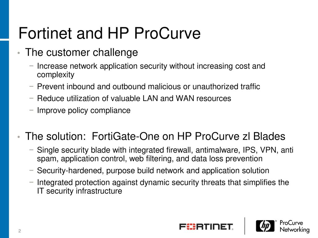 Fortinet Unified Threat Management ProCurve Open Network