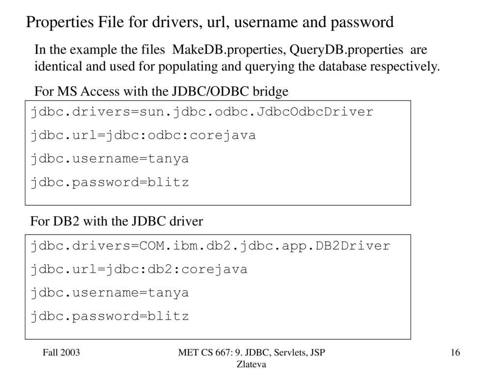 Met cs 667: 9. Jdbc, servlets, jsp zlateva ppt download.
